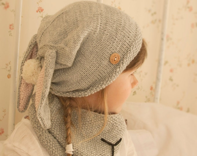 KNITTING PATTERN bunny hat and cowl set slouch Rabbit Gigi with pom-pom (baby / toddler/ child/ woman sizes)