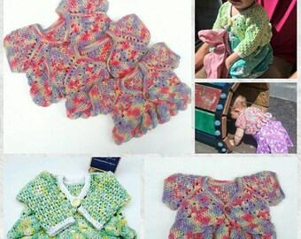 Baby girl's shrug **Made to Order** Crochet short sleeve cardigan, hand made bolero, kids sweater,