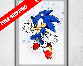 Sonic The Hedgehog Print, Watercolour Sonic, Nursery Wall Art, Kids Room  Poster,