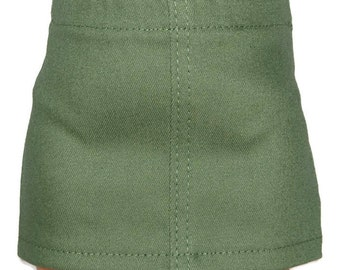 """Olive Green Stretch Denim Skirt - Doll Clothes fits 18"""" American Girl Dolls"""