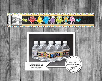 Monster Printable Water Bottle Wraps | Monster Birthday Party | Monster Favor | Monsters | Water Label | Decoration | Instant Download |