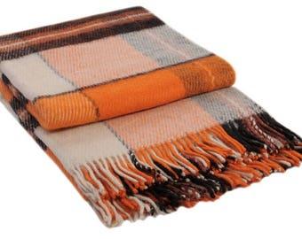 Wool Throw from sheepskin (White / Terracotta / Brown / Orange)