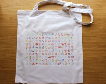 150 Monsters Tote Bag (Pokemon from Memory Illustration)