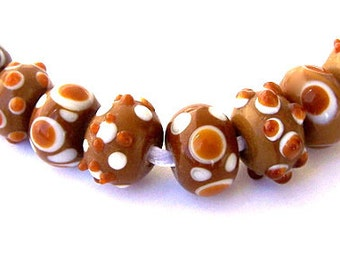 8 coffee brown and white lampwork glass beads, about 15m x 9mm