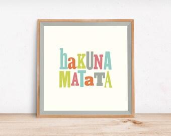 Hakuna Matata Letterpress Print, Nursery Art, Children Decor