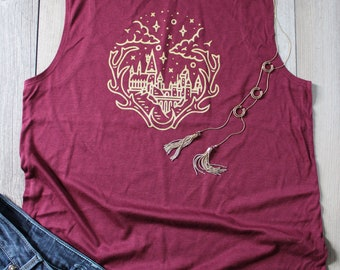 H POTTER inspired Woman's Scoop Muscle Workout Tank HOGWARTS castle (not Harry Potter)
