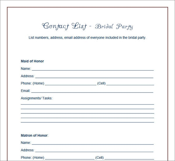 Wedding Party Checklist Printable   Veenvendelbosch