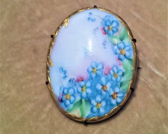ca. 1910 Floral Painted, Porcelain Brooch