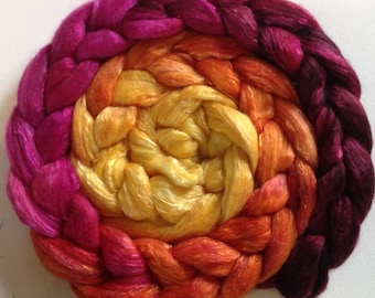 Hand Dyed roving 3.5ozs polwarth mulberry silk 70/30 Ready to ship