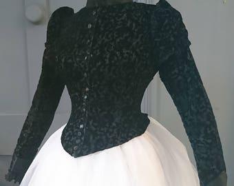 Stunning Figured Velvet 1880s Mourning Bustle Bodice - Victorian Antique Fashion