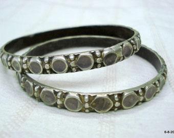 vintage antique tribal old silver bracelet bangle chudi set 2pc gypsy jewelry