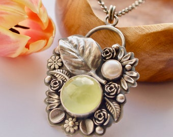 Prehnite Necklace, Silver Rose Pendant, Botanical Silver Work, Bezel Set one of a Kind Jewelry, Handmade Silver Necklace, Green Stone