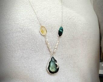 Pendant necklace Silver 925 labradorite citrine chrysocolla