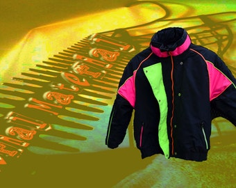 Retro ski jacket 80s Neon jacket EQUUS vintage Ski wear Black neon pink yellow orange made in usa size 16 ski suit winter resort wear