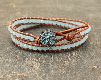 Turquoise Peacock Bracelet Beaded Leather and Crystal Peacock Jewelry