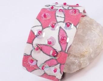 S A L E Handmade OOAK beaded bracelet in Salmon