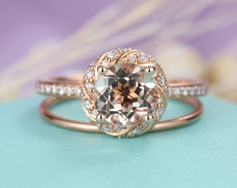 Vintage engagement ring set Rose gold wedding band Antique Morganite Unique Diamond Half eternity Bridal Jewelry Anniversary gift for her