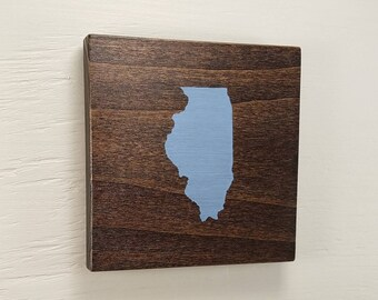 "Any Color, Any State, Custom State Wall Art, Illinois, Chicago, 5""x5"""