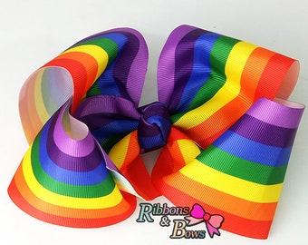 "Girls JoJo inspired Rainbow 7"" handmade Hair Bow Clip"