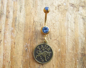 Taurus Belly Button Ring, Gold Navel Ring, Dangle Belly Ring, Body Piercing, Zodiac Charm, Body Jewelry, 14g Barbell.
