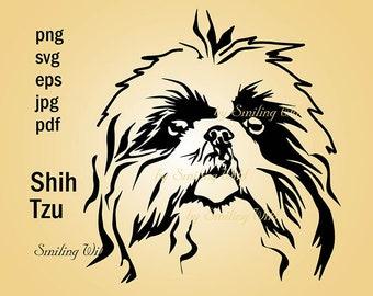 Shih Tzu art design png svg clipart printable vector graphic artwork silhouette Shih Tzu dog instant download commercil use