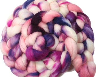Conch Shell - hand-dyed Polwarth wool and silk (4 oz.) combed top roving