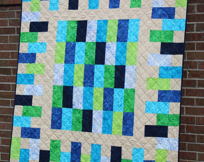 Blue Batik Patchwork Quilted Throw Blanket