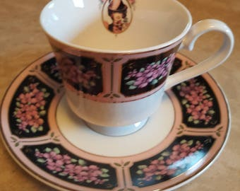 Vintage Teacup & Saucer - Pink and Black with Cameo