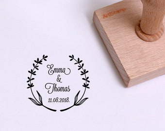 Lavender Save The Date Wedding Stamp / Wedding Invitation / Wedding Favors Gift / Custom Rubber Stamp / Personalized Stamp / Wooden Stamp