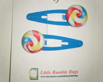 Toddler/Girl/Adult Button Snap Hair Clips Set of 2 - Lolly Pop Swirl on Blue Clips - 5 cm