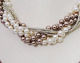 Chunky pearl bracelet Big chunky bracelet Bridal pearl jewelry White pearl jewelry Braided fashion bracelet Elegant wedding bracelet Gift