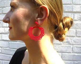 RED, plastic, vintage flamenco earrings, long, dangling flamenca, Spanish, feria, Spain, Andalucía, Straight from Seville