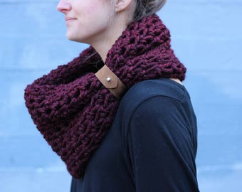 Wine - CHUNKY WOOL Large Cowl Scarf