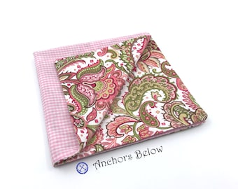 Pink Paisley Pocket Square, Pink and White Gingham Pocket Square, Pink and Green Paisley Pocket Square, Double Sided Pocket Square