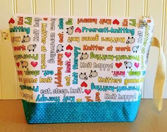 Knitting Bag, Knitting Project Bag, Knitting pouch, Knitting Bowl, Yarn tote, Knitting Quotes Bag, Knitting Tote, Yarn Bowl, Sheep Bag