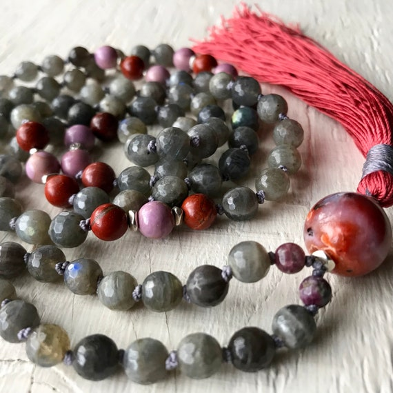 Mala for Calm & Emotional Healing /  Labradorite Mala Beads / Moroccan Agate / Phosphosiderite / Red Jasper / Yoga Gift / Spiritual Jewelry