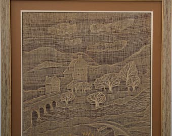 Embroidered and art textile panel for decoration The castle
