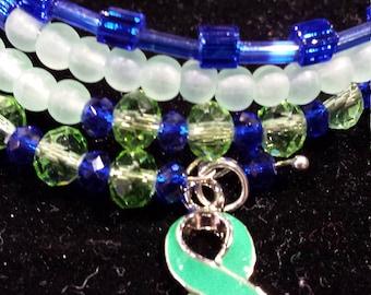 Green Awareness Ribbon Wraparound Bracelet