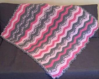 Pink/Light Pink/Gray/Variegated Ripple Blanket