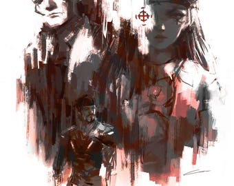 Ana, Soldier 76, and Reaper Art Print (Overwatch) // Gamer Gifts