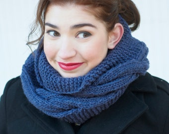 Gifts Under 20, Stocking Stuffer, Gifts For Her, Infinity Scarf Hand Knit Slate Blue