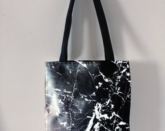 Black marble tote bag canvas tote trendy tote fashion marble totes travel bag modern bag unique design totes