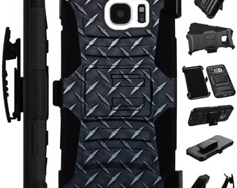 For Apple iPhone 5 6 7 Plus Se Samsung Galaxy S6 S7 Edge Note 5 7 Hybrid Armor Cover Rugged KickStand Holster Case BLACK CROSSHATCH LuxGuard