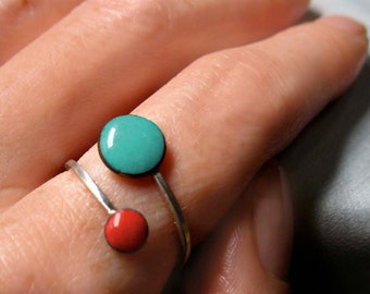 Orbit Enamel Ring, Robins Egg Blue and Cherry Red, Adjustable Size, Kiln-fired Glass Enamel and Sterling Silver
