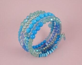 Aqua Memory Wire Bracelet - turquoise blue, mixed beads, stacked coils bangle, ocean sea water, boho bohemian hippie, Sea Punk mermaid