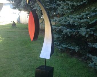 Silver Metal Art abstract metal art Silver Home decor Garden Free standing Sculpture by Holly Lentz