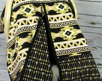 Black, Gold and White Aztec and  Arrow Print Car Seat Canopy/Baby Carseat Cover/ Infant Carseat Canopy Cover