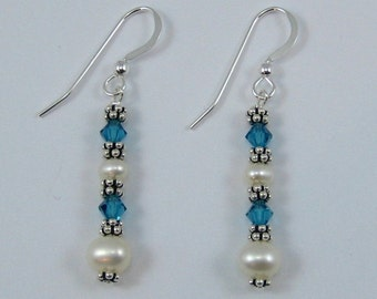 Indicolite Swarovski Crystal and Pearl Earrings (E114a)