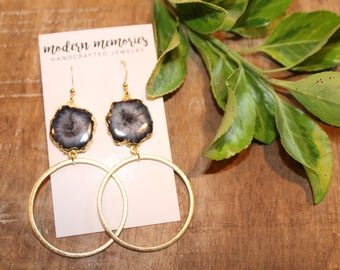 Black Quartz Hoop Earrings