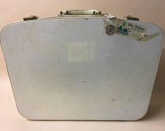 Cream  vintage suitcase- vintage luggage- photography prop - cream case